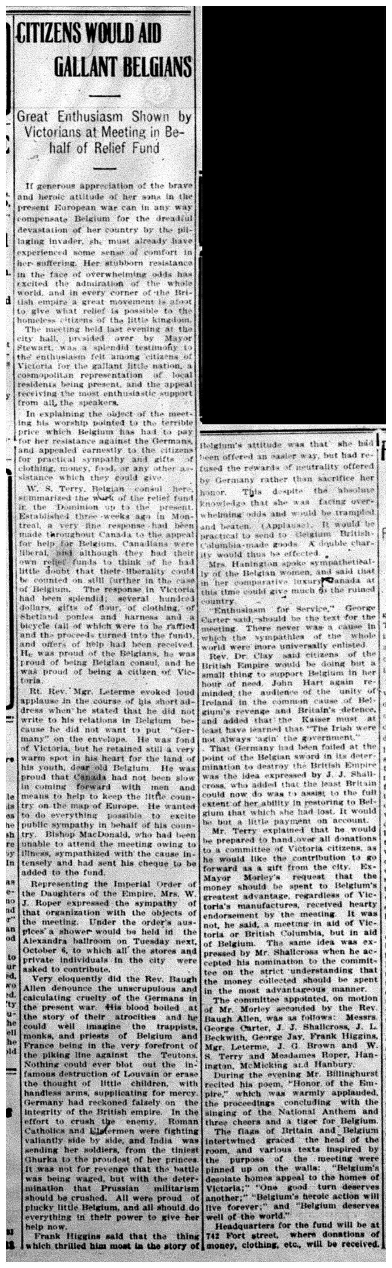 """""""Citizens Would Aid Gallant Belgians"""""""