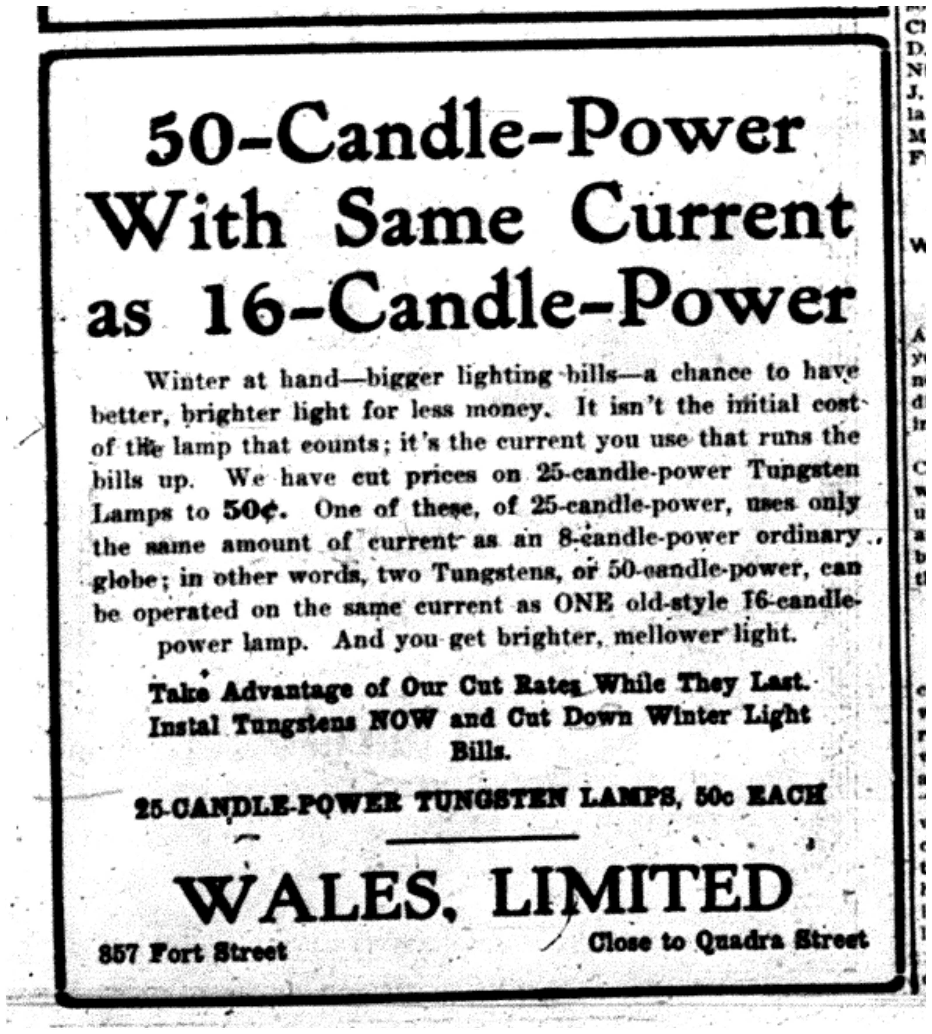 """50-Candle-Power With Same Current as 16-Candle-Power"""