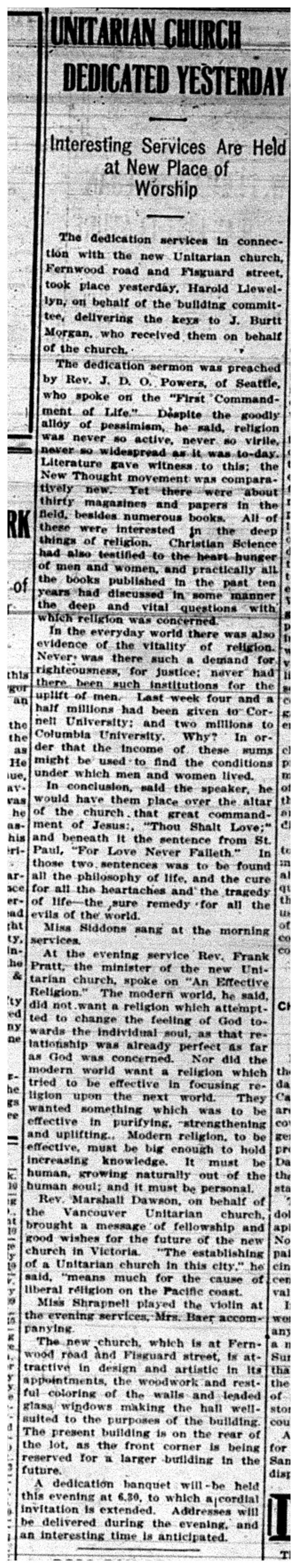 """Unitarian Church Dedicated Yesterday"""
