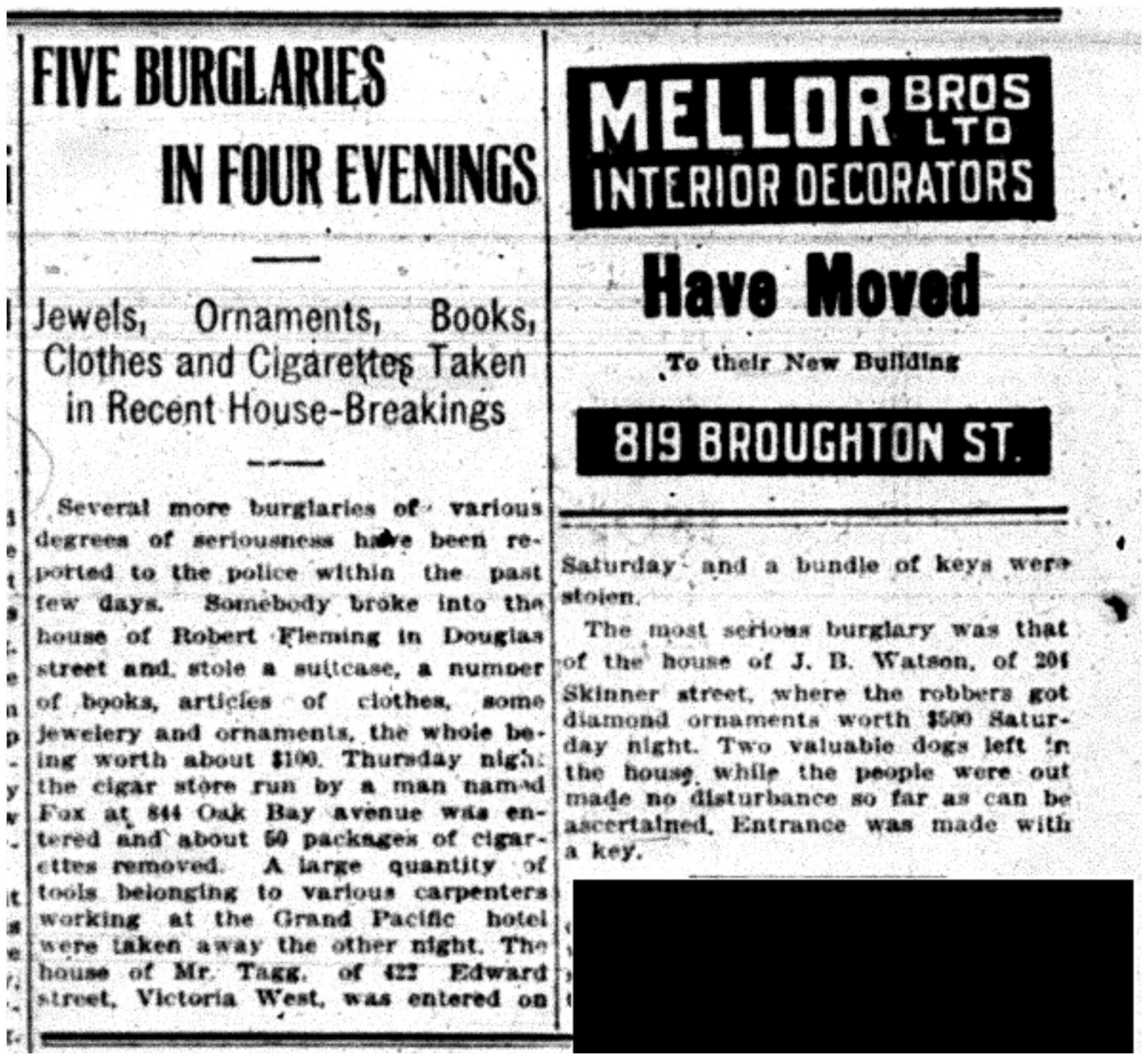 """""""Five Burglaries in Four Evenings"""""""
