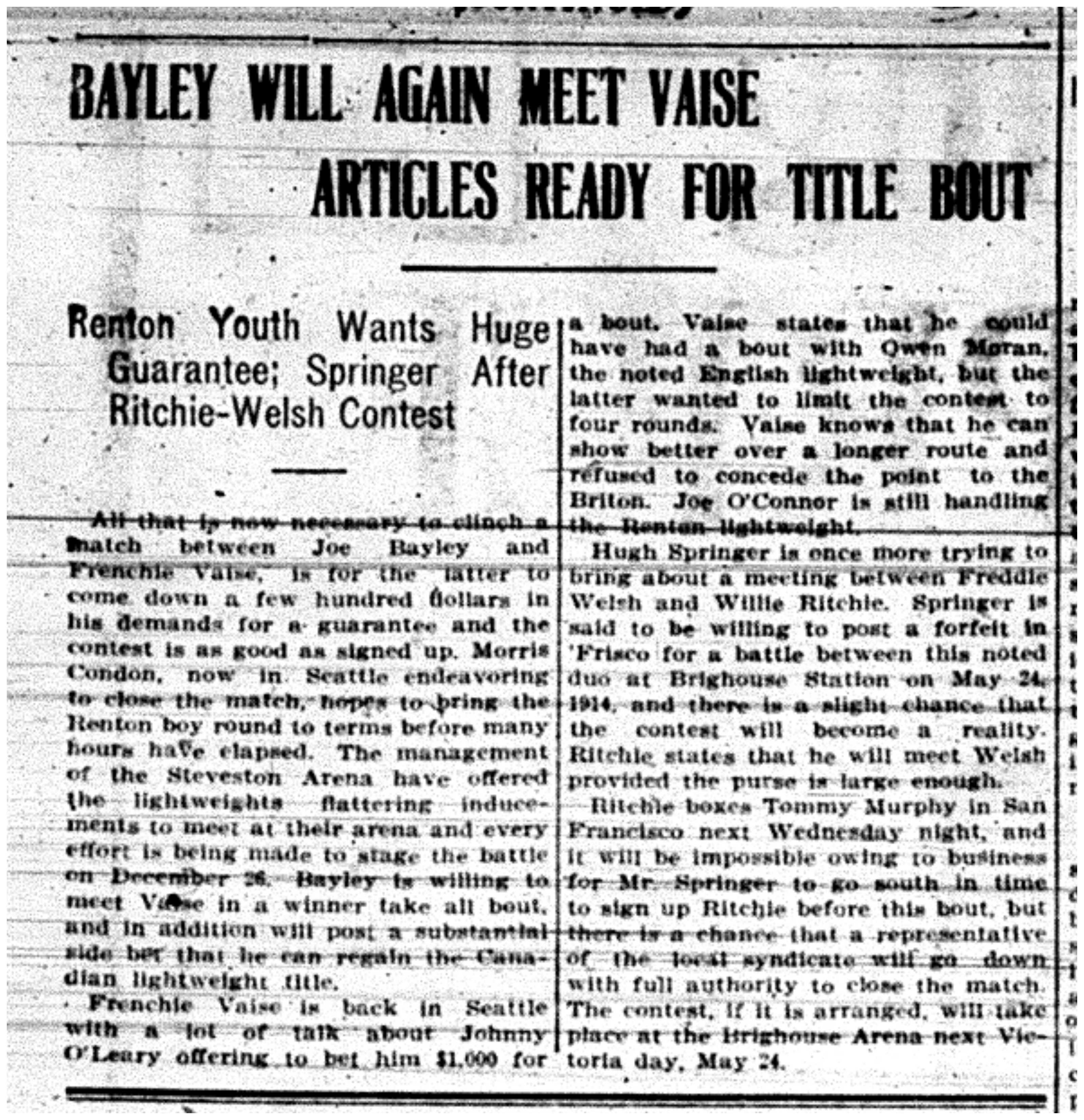 """""""Bayley Will Again Meet Vaise - Articles Ready for Title Bout"""""""