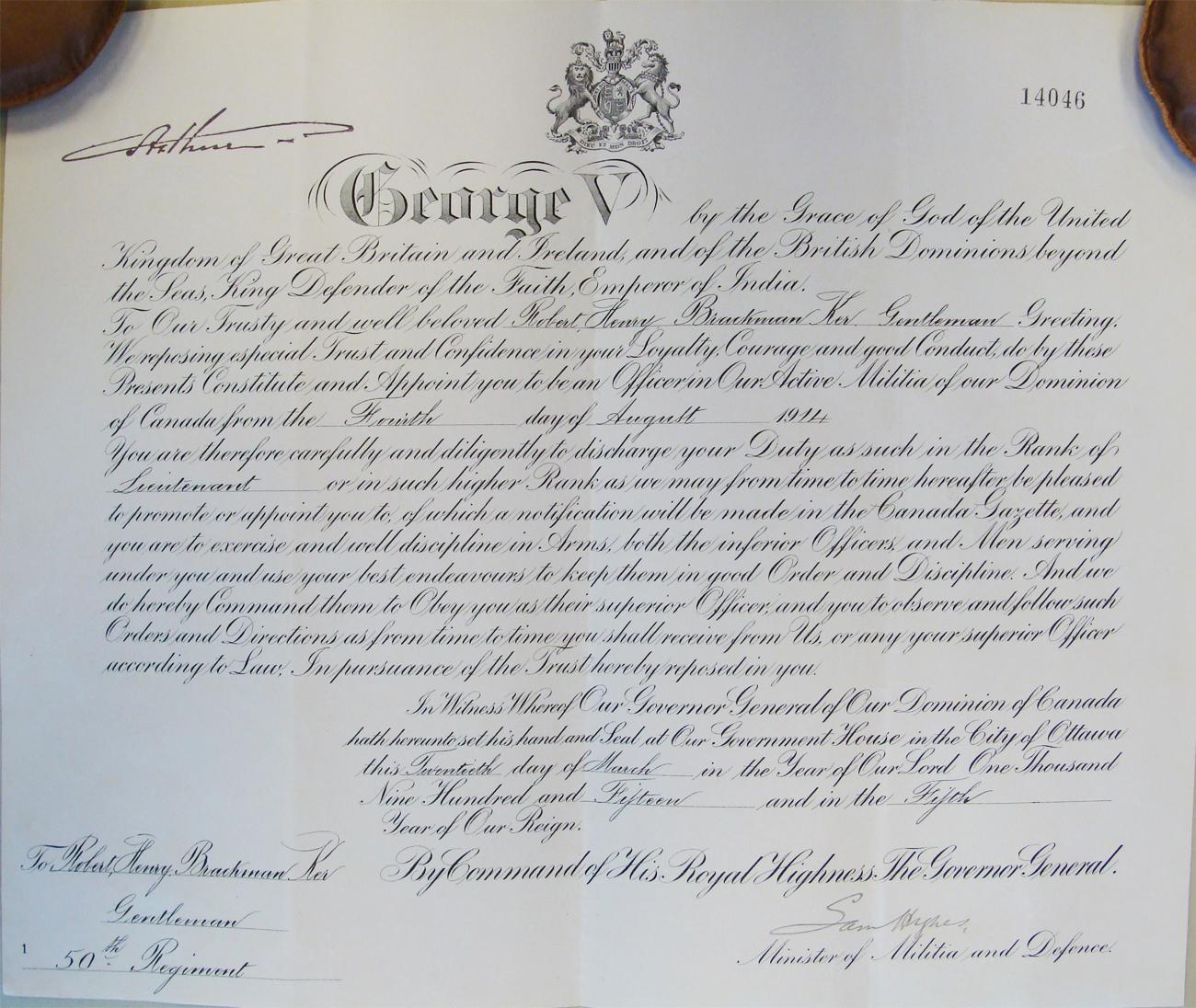 R.H.B. Ker's Lieutenant's Commission
