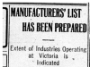 """Manufacturer's List Has Been Prepared"""
