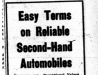 """Easy Terms on Reliable Second-Hand Automobiles"""