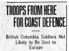 """Troops From Here for Coast Defence"""