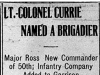 """Lt.-Colonel Currie Named a Brigadier"""