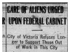 """""""Care of Aliens Urged Upon Federal Cabinet"""""""