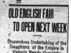"""Old English Fair to Open Next Week"""