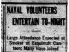 """""""Naval Volunteers Entertain To-Night"""""""