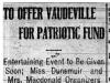 """To Offer Vaudeville for Patriotic Fund"""