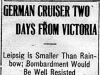 """German Cruiser Two Days from Victoria"""