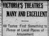 """""""Victoria's Theatres Many and Excellent"""""""