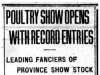 """Poultry Show Opens with Record Entries"""