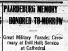"""Paardeberg Memory Honored Tomorrow"""