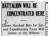 """Battalions Will Be Concentrated Here"""