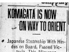 """Komagata is Now on Way to Orient"""