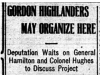 """Gordon Highlanders May Organize Here"""