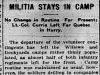 """Militia Stays in Camp"""