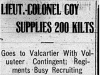"""Liet. Colonel Coy Supplies 200 Kilts"""