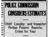 """Police Commission Considers Estimates"""