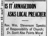"""Is It Armageddon Asks Local Preacher"""