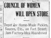 """Council of Women Will Open Store"""
