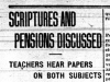 """Scriptures and Pensions Discussed"""