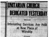 """Unitarian Church Dedicated Yesterday"""