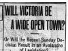 """Will Victoria Be a Wide Open Town?"""