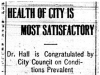 """Health of City is Most Satisfactory"""