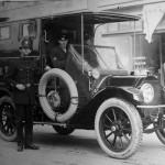 The first motorized police vehicle, this cadillac, was purchased in 1918 by Chief John Fry. Source: Image Courtesy of the Victoria Police Historical Society. Date: [ca. 1918]