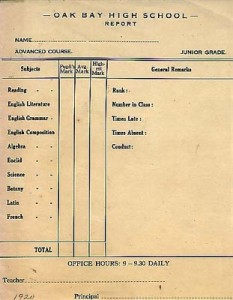 1920 Oak Bay High School Report Card, indicating subjects taught. Courtesy of Oak Bay High School Archives.
