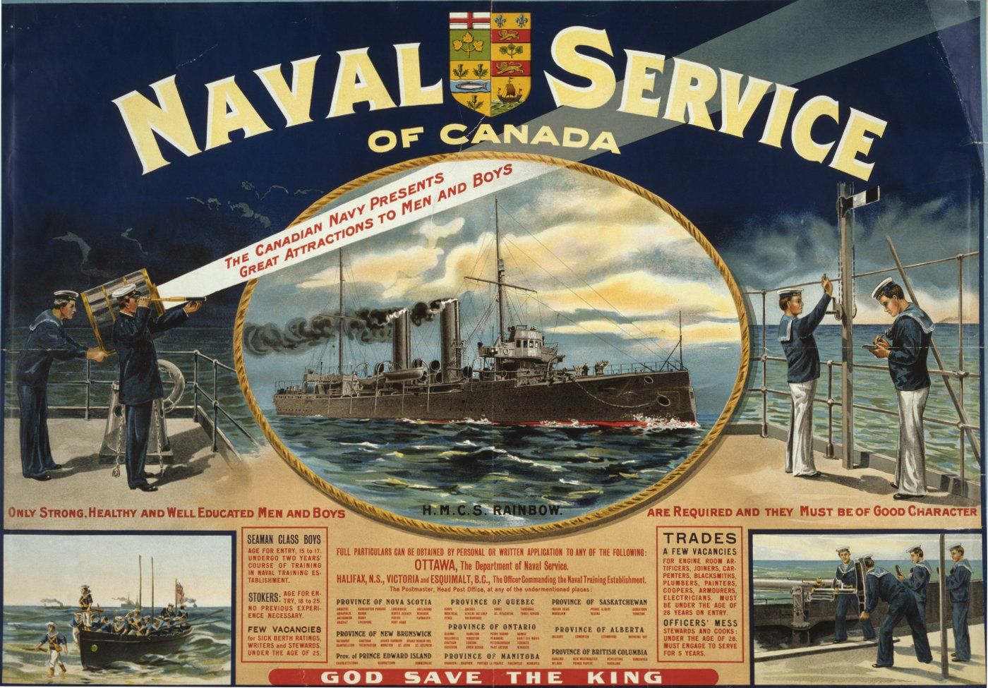 A recruiting poster for the Naval Service of Canada, featuring the HMCS Rainbow. Courtesy of the Library of Congress Prints and Photographs Division.