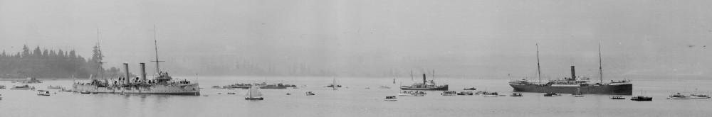 The HMCS Rainbow (left) and the SS Komagata Maru in Vancouver Harbor. Courtesy of the City of Vancouver Archives.