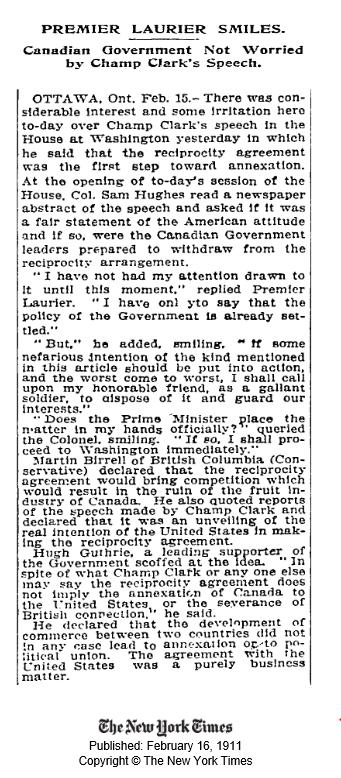 Reciprocity - NY Times 16 Feb 1911