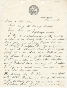 Letter to the Saanich Council reporting on Spanish Flu Cases.  Image Courtesy of Saanich Archives, Clerk's Letters CLE320-009-06a-c. Date: 5 Nov 1916
